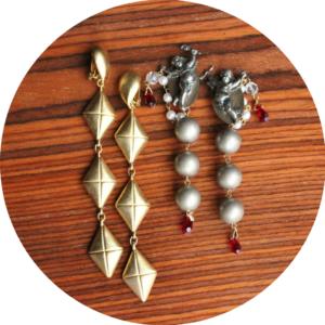 vintage shoulder duster earrings gold tone silver cherubs