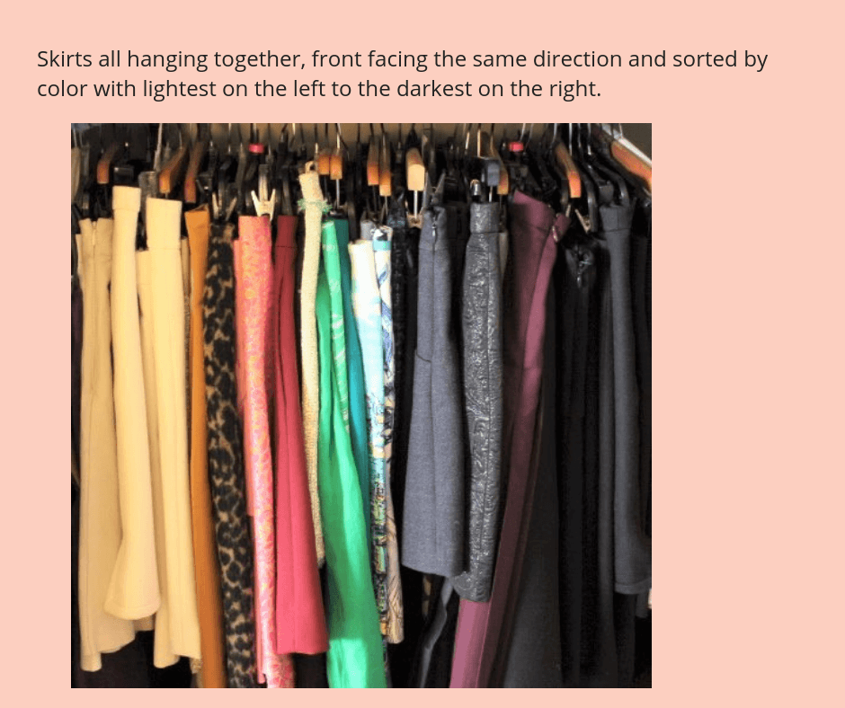 declutter clothes closet skirts sort by category by color