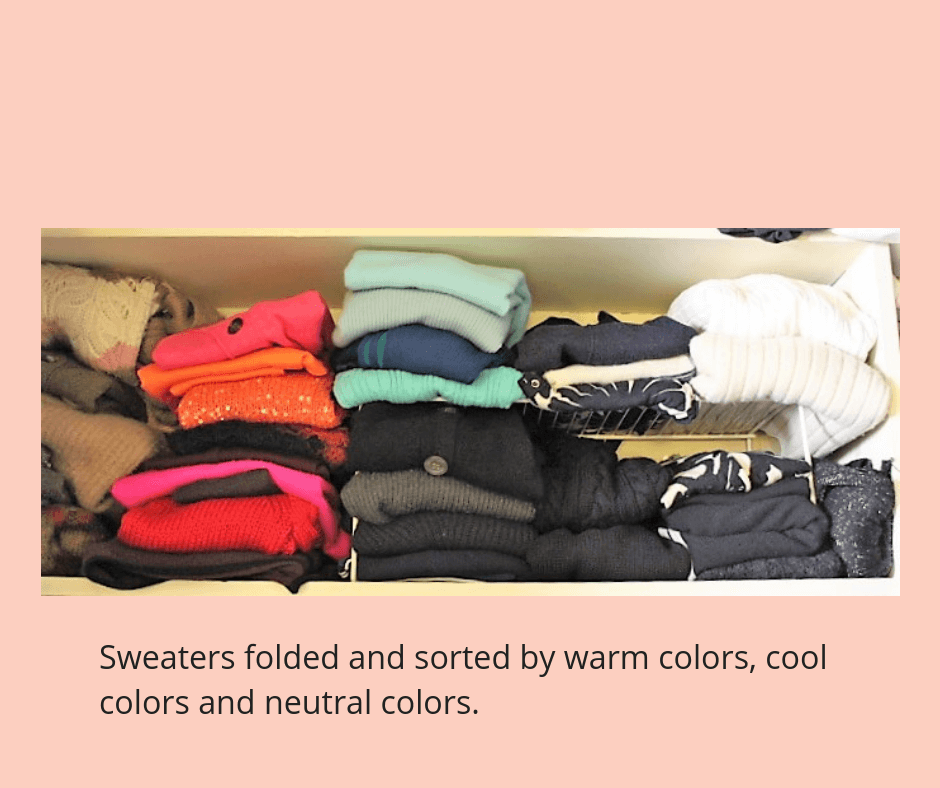 declutter clothes closet sweaters folded by color